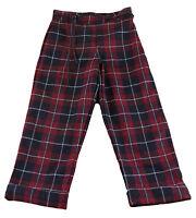 JACADI Girl's Aisance Crimson/ Multi Plaid Wool Pants Sz 8 Years NEW $67