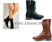 Women NEW Military Combat Fashion Fux Leather Lace Up Riding Mid Calf Boots Tan