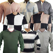 Rugby Shirt Long Sleeve Mens Striped / Harlequin / Plain / Drill - Front Row New