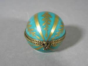 Ball Shaped Green & Gold Limoges Trinket Box