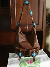 Charm and Luck Distressed Brown Leather Hobo Shoulder Bag Turquoise Rhinestones
