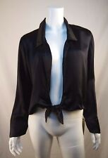 REFORMATION Black Satin BASINGER Top Shirt Size M