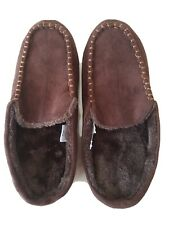 Mens Brown Suede Mule Slippers Size 11-12