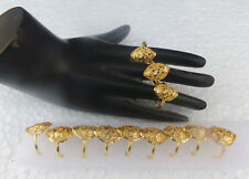 Indian Ethnic Bollywood 22k Gold Plated UK Fashion Jewelry Rings 12pc Lot Set g5