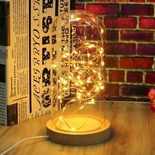 220V LED Fairy String Desk Table Wire Lamp Night Light Wood Base Bedroom Gift