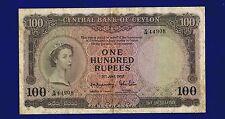 CEYLON 100 RUPEES 1952  PIC53A FINE ES-3