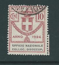 ITALY 1924 DISOCCUP 10c USED SASS 63 CAT E30 NICE