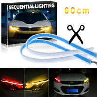 2x60cm Flexible Red DRL LED Strip Light Daytime Running Sequential Turn Signal