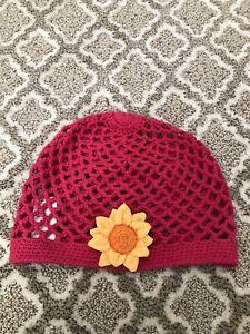 Gymboree Girls  Fall Sunflower crocheted Hat Size 5-7