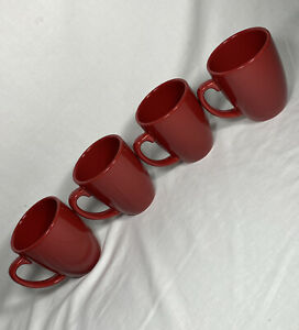 Set Of 4 CORELLE Red Mugs Coffee Tea Cups Christmas Holiday Stoneware