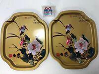 Hong King Made Metal Trays With Hummingbird In Blooming Flowers Vintage Lot Of 2