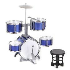 New Blue Drum Set 5 Piece Junior Complete Child Kids Kit & Stool Sticks Kid Gift
