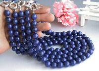 Lots 5pcs 8mm Natural Blue Lapis lazuli Gemstone Round Beads Necklace 18''