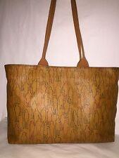 iL Giramondo RARE! XL Leather Shoulder Tote Bag People Outline pattern Cognac
