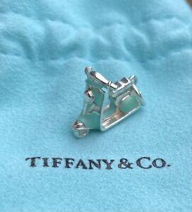 TIFFANY & Co. Blue Enamel Vespa Bike Motorcycle Scooter Charm Necklace Bracelet