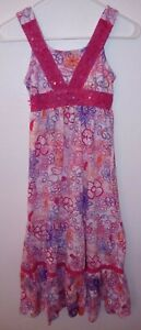 Justice Girls Size 10 Pink/Flower Design Pull On Sun Dress
