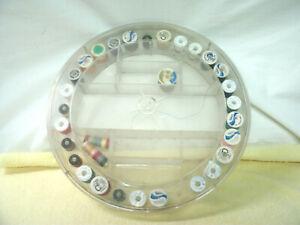 Vintage Round Clear Plastic Sewing/Spool Thread Holder Organizer--29 Spools