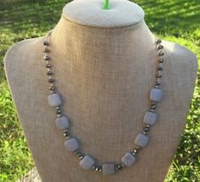 Handmade Necklace Gray and Cream Marble Stone with Silver Metallic Glass Beads