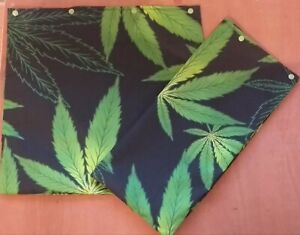 """Pair of Cotton Weed Ganja Novelty Cushion Covers 16"""" x16"""" Green and Black"""