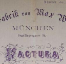 ALTE RECHNUNG MÜNCHEN SENLINGERGASSE 82 SPIRITUS FABRIK MAX WASSERMANN CA 1876!!