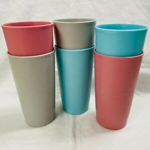 Lot Set of 6 – Vintage Tupperware #873 Country Pastel 12 oz. Tumbler Cups
