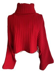 Missguided Women's Cropped Jumper Size 6-16 Red Oversized Flared Sleeves