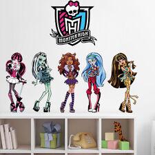 diy gift Monster High Beautiful Girls Cartoon Wall Sticker PVC kids Room Sticker