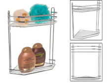 2 TIER CHROME CORNER SHOWER CADDY BATHROOM STORAGE RACK SHELF ORGANISER BASKET