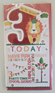 3 YEARS OLD BIRTHDAY CARD 3RD BIRTHDAY SPARKLY CARD WITH LION  23 X 12 CM