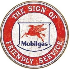 Mobil Gas Friendly Service Oil Weathered Vintage Look Metal Tin SIgn
