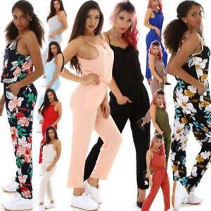 Damen Overall Onesie lang Jumpsuit Träger verstellbar Blumen Einfarbig Sommer