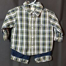 a503ce385b0c 3-6 Months Old Navy Boys Outfit 2 pieces long sleeve winter fall blue plaid