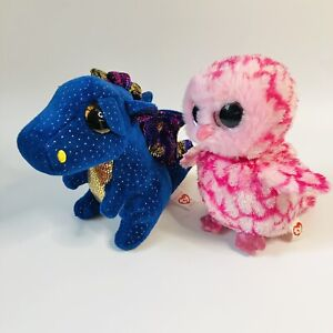 TY Beanie Boos. Saffire the Blue Dragon and Pinky The Owl Plush Lot Bundle