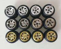 Hot Wheels Fans 7spoke and Flower Chrome Long Axle Rubber Tires Lot Of 6 Mix