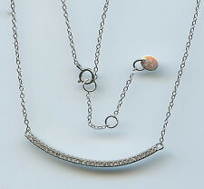 925 STERLING SILVER & MICRO PAVE CZ CURVED BAR NECKLACE