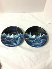 ALASKA SCENES HAND PAINTED FOLK ART BOWLS LOT OF 2 METAL 1984