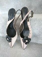 Ronit zilkha Pink Leather Stitch Effect Pointed Floral Heels 40 7