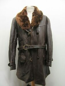 VINTAGE WW2 FRENCH HORSEHIDE LEATHER TRENCH COAT JACKET SIZE M BEARSKIN COLLAR