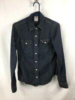 Carhartt Women's Dark Blue Denim Pearl Snap Long Sleeve Shirt Size Small (4/6)