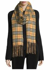 Burberry Cashmere Reversible Vintage Check Pattern Scarf $795 NWT