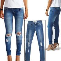 UK Womens Ladies Jegging Distressed Rip Knee Skinny Jeans Blue Denim Size 8-14