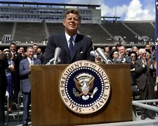 President John F. Kennedy speaks about Moon at Rice University 1962 8x10 Photo