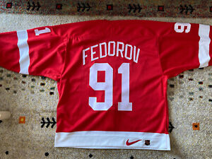 Authentic On Ice Nike Sergei Fedorov Detroit Red Wings Hockey Jersey 52