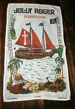 Vintage Rare linen tea towel Jolly Roger pirate ship Barbados souvenir