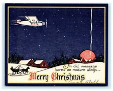 Old Message Borne on Modern Wings Antique Merry Christmas Card Plane Airplane