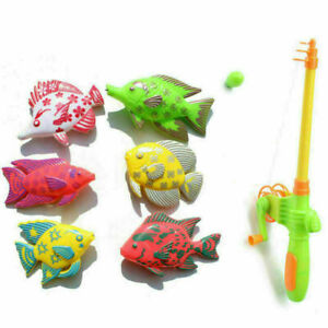7PCS Kids Fishing Toy Model Bath Time Game Baby Magnetic Pole Rod Fish Set