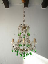 ~c 1920 RARE French Green Murano Drops Crystal Swags & Bobeches Chandelier OLD~