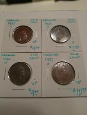 1927-H VF, 1929-H F, 1930-H VF, 1937-H XF Sarawak One Cent Coins #AB090