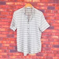 Michael Bastian Mens White Striped Button Front Short Sleeve Shirt Large