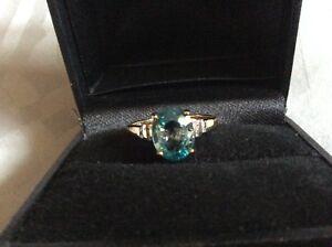 Ratanakiri Zircon (blue) & diamond tgw 2.7 9k yellow gold ring size N new